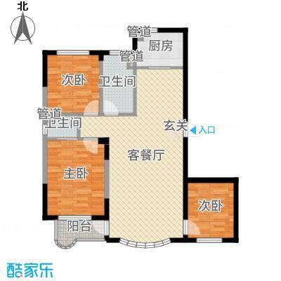 金海明珠108.00㎡17号楼C户型3室3厅1卫1厨