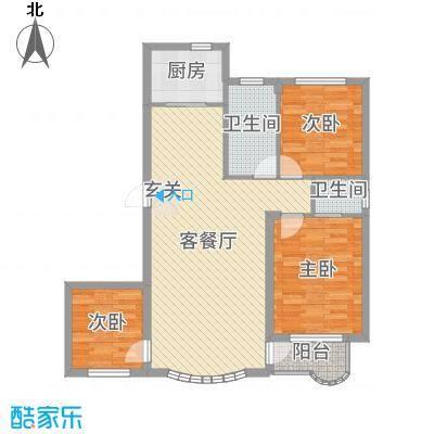 金海明珠108.00㎡13、14、17、18号楼B2户型3室3厅2卫1厨