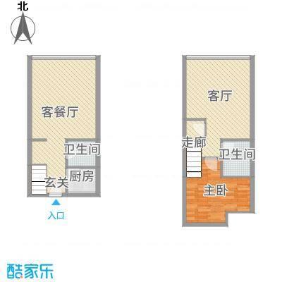 君悦新天地86.00㎡C户型2室2厅2卫2厨