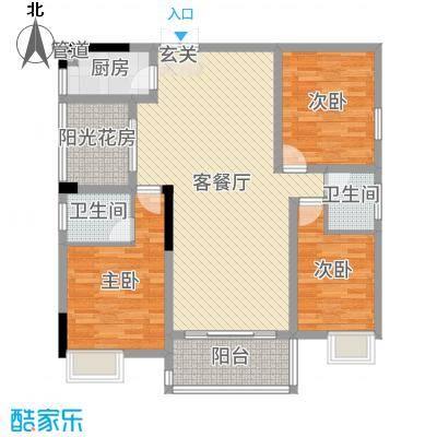 锦绣银湾120.05㎡户型3室3厅2卫1厨