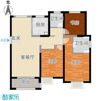 景瑞上府126.00㎡高层C户型3室3厅2卫1厨