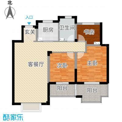 景瑞上府107.00㎡洋房5层户型3室3厅1卫1厨