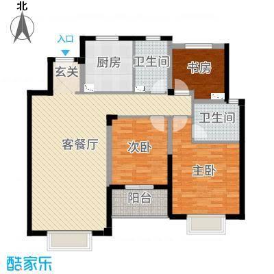 景瑞上府117.00㎡洋房4层户型3室3厅2卫1厨