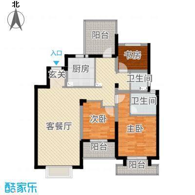景瑞上府122.00㎡洋房3层户型3室3厅2卫1厨