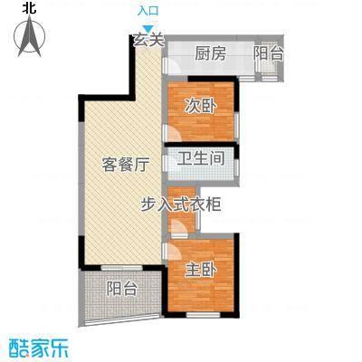 月湖琴声98.00㎡D2号楼3号房户型2室2厅1卫1厨