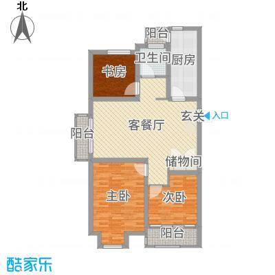 边城香榭里8号106.23㎡A-1户型3室3厅1卫1厨