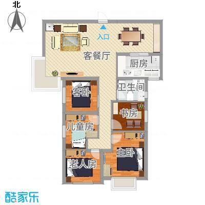 未来海岸蓝月湾114.76㎡J户型3室2厅2卫1厨-副本
