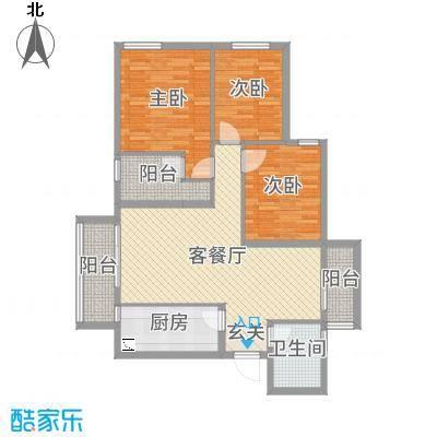 金湾花园二期110.00㎡8栋标准层E3户型3室3厅2卫1厨