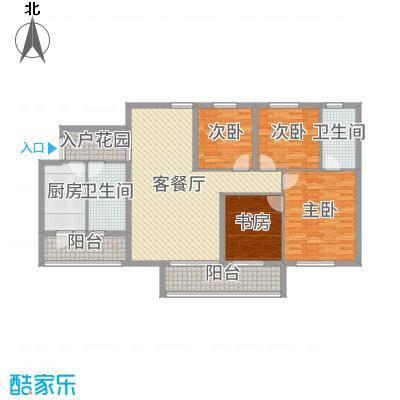 金湾花园二期127.09㎡8栋标准层E2户型4室4厅2卫1厨