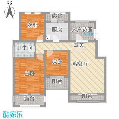 正商红河谷107.00㎡电梯洋房6层E'户型3室3厅1卫1厨