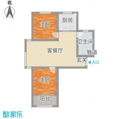 想象国际91.55㎡南11#标准层F4户型2室2厅1卫1厨