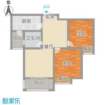 雍福上城101.21㎡27#二三单元中间户02室户型2室2厅1卫1厨