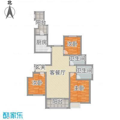 雍福上城138.00㎡23#标准层01户型3室3厅2卫1厨