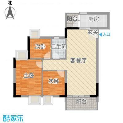 天马河壹号三期・御景湾91.26㎡A3栋三至十八层03户型3室3厅1卫1厨