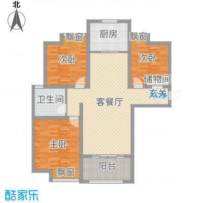 雍福上城121.70㎡27#一单元边户03室户型3室3厅1卫1厨