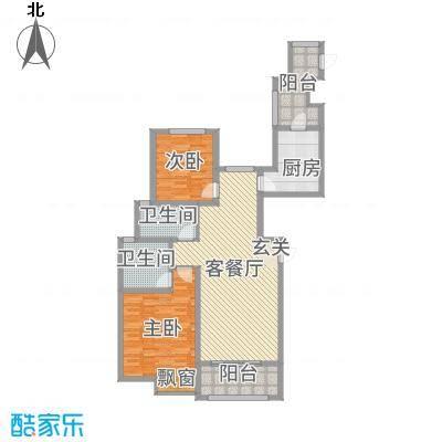 雍福上城118.00㎡23#标准层02户型2室2厅2卫1厨