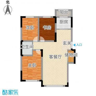 倚澜观邸二期120.00㎡5#楼高层2户型3室3厅1卫1厨