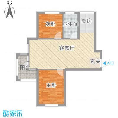 青国青城73.38㎡16号楼B户型2室2厅1卫1厨