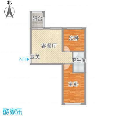 青国青城66.41㎡11号楼C户型2室2厅1卫1厨