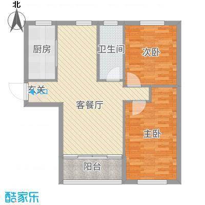青国青城77.36㎡2号楼A户型2室2厅1卫1厨