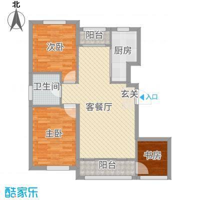 青国青城78.59㎡8号楼A户型3室3厅1卫1厨