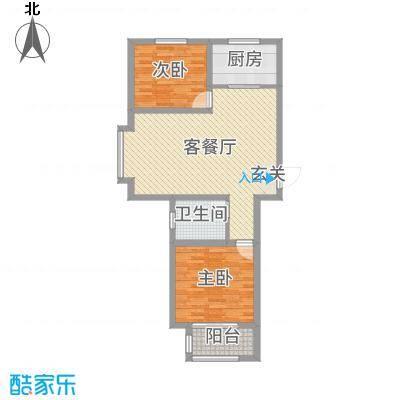 馨视界・花城88.09㎡B3#5#楼J户型2室2厅1卫1厨