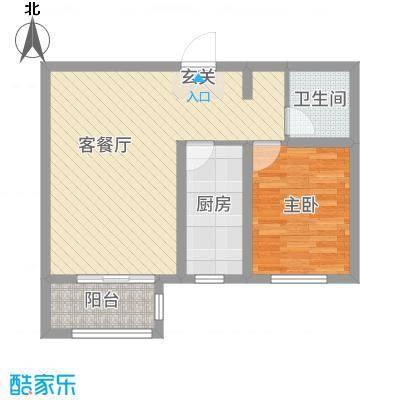 馨视界・花城62.66㎡B3#5#楼K户型1室1厅1卫1厨