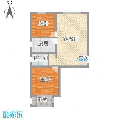馨视界・花城80.90㎡7#楼D户型2室2厅1卫1厨