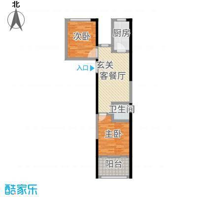 宏江中央广场73.00㎡15#户型2室2厅1卫1厨