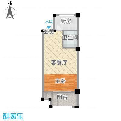 宏江中央广场56.00㎡2#户型1室1厅1卫1厨