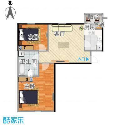 蓝天公寓二室一厅一卫户型-副本