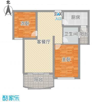 山河源墅多层88.00㎡B户型2室2厅1卫1厨