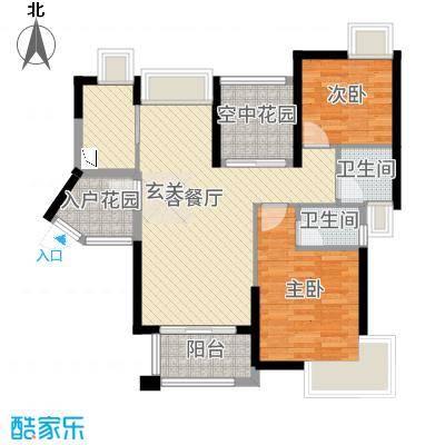 鸿晖・依岸康堤85.00㎡49座01/04单元户型3室3厅2卫1厨