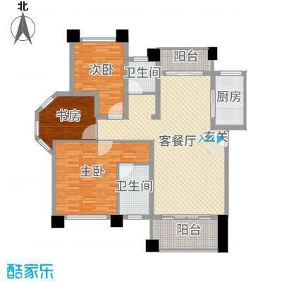 山河源墅多层125.00㎡C户型3室3厅2卫1厨