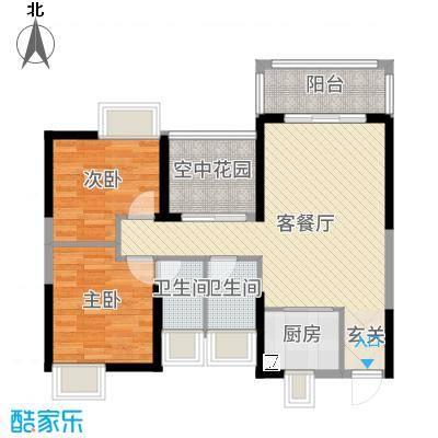 鸿晖・依岸康堤88.00㎡50#1栋04单元户型3室3厅2卫1厨