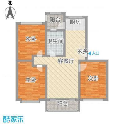 欧美世纪花园110.00㎡13#、32#标准层C户型3室3厅1卫