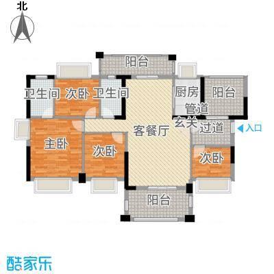 侨城水岸140.00㎡6-7栋B1户型4室4厅2卫1厨