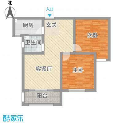 汇君城88.62㎡F14号楼标准层B户型2室2厅1卫1厨