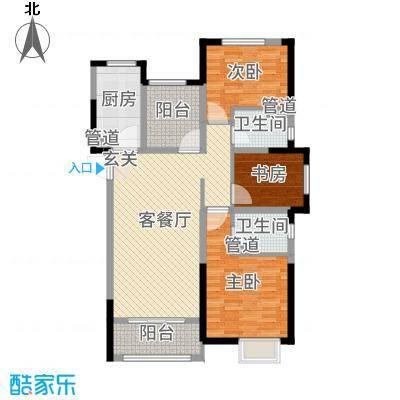 中海凤凰熙岸112.00㎡11#、15#标准层户型3室3厅2卫1厨