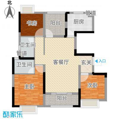 中海凤凰熙岸116.00㎡12#16#标准层户型3室3厅2卫1厨