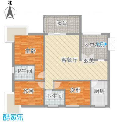 富中蝴蝶谷114.79㎡二期3号楼B户型3室3厅2卫1厨