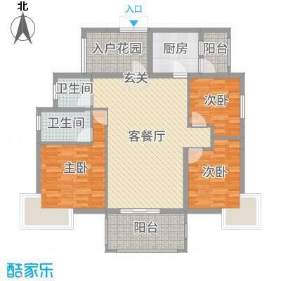 富中蝴蝶谷114.89㎡二期12号楼A户型3室3厅2卫1厨