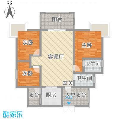 富中蝴蝶谷117.12㎡二期3号楼A户型3室3厅2卫1厨