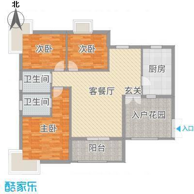 富中蝴蝶谷123.10㎡二期12号楼B户型3室3厅2卫1厨