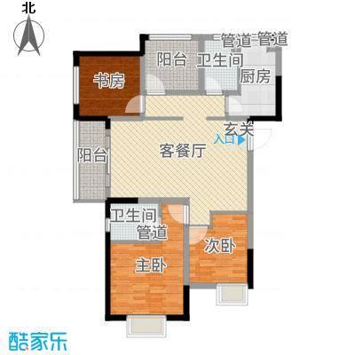 中海凤凰熙岸118.00㎡11#、15#标准层户型3室3厅2卫1厨