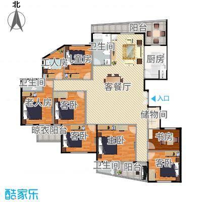 东辰清风港215.00㎡E户型4室2厅2卫-副本