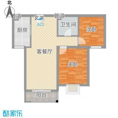 世纪龙庭二期87.00㎡B区109#楼标准层G户型2室2厅1卫1厨