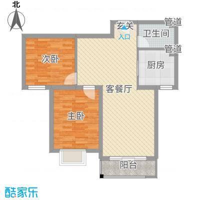 世纪龙庭二期90.00㎡D115#楼标准层E户型2室2厅1卫1厨