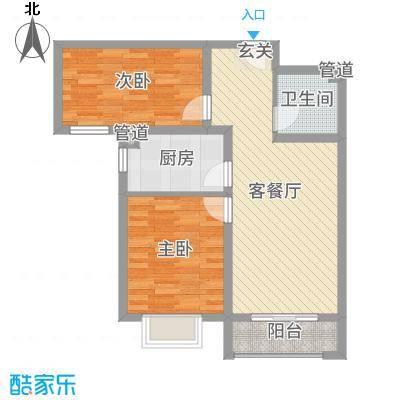 世纪龙庭二期85.00㎡B101、B102、B114#楼标准层D1户型2室2厅1卫1厨