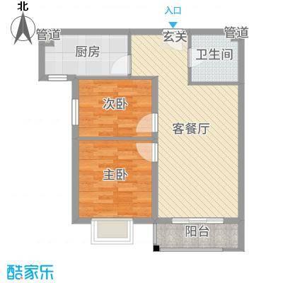世纪龙庭二期80.00㎡B区101、102、114#楼标准层D户型2室2厅1卫1厨